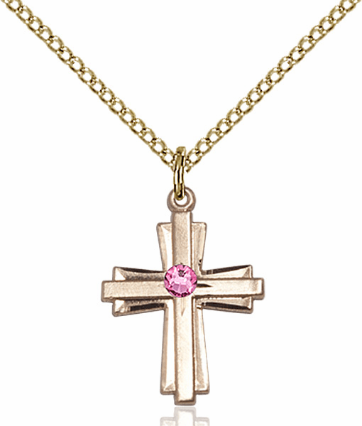 Small Birthstone Crystal October Rose Double Etched 14kt Gold-filled Cross Necklace by Bliss