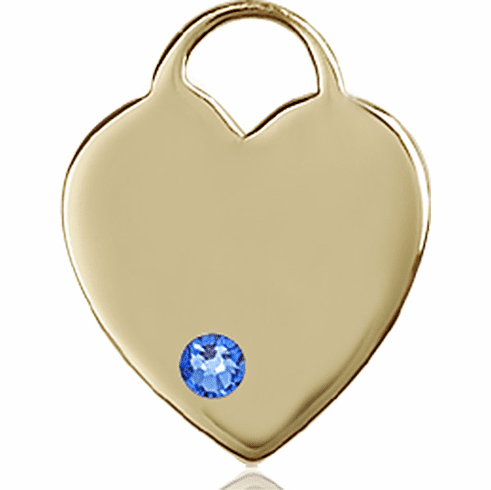 Small Birthstone Crystal September Sapphire 14kt Gold Necklace by Bliss