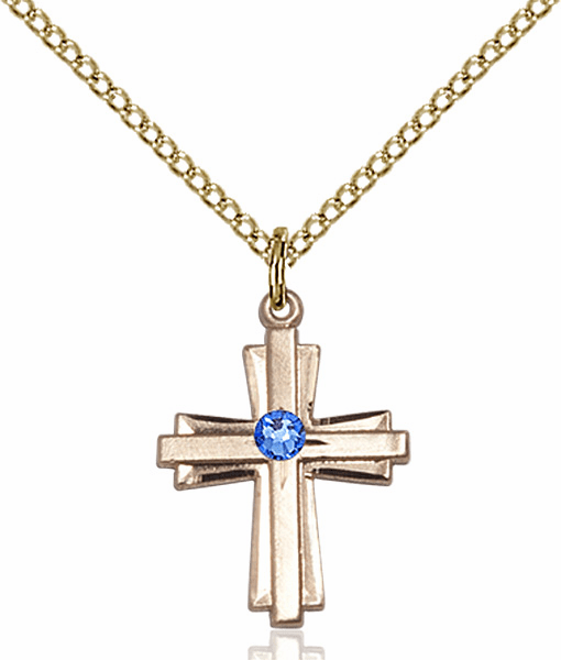 Small Birthstone Crystal September Sapphire Double Etched 14kt Gold-filled Cross Necklace by Bliss