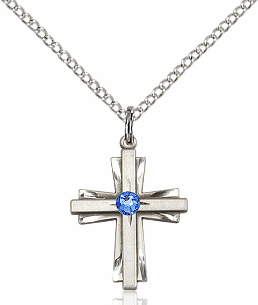 Small Birthstone Crystal September Sapphire Double Etched Cross Necklace by Bliss