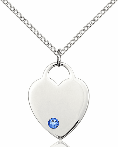 Small Birthstone Crystal September Sapphire Sterling Silver Necklace by Bliss