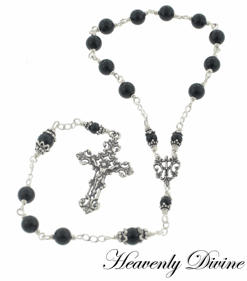 Small Black Onyx Sterling Silver One-Decade Rosary by Heavenly Divine