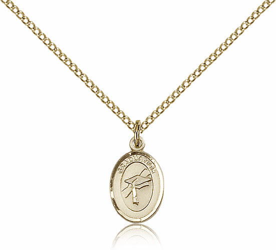 Small Charm Oval 14kt Gold-filled Graduation Necklace w/GF Chain by Bliss
