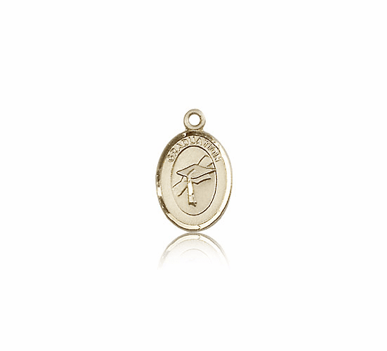 Small Charm Oval 14kt Gold Graduation Medal Pendant by Bliss Manufacturing