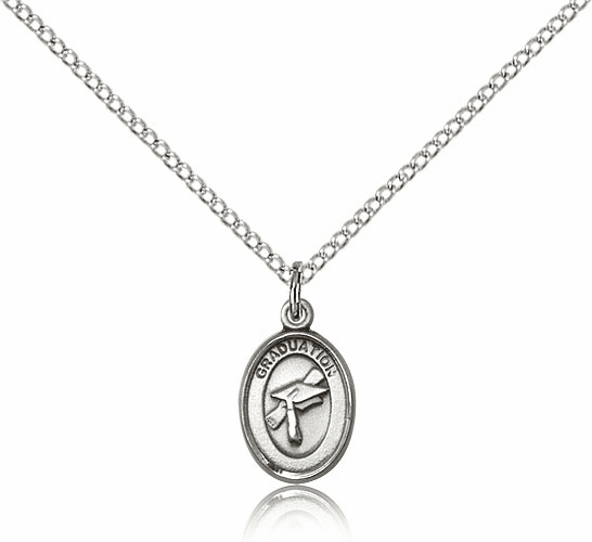 Small Charm Oval Sterling Silver Graduation Necklace w/SS Chain by Bliss