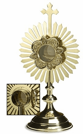 Small Cross Gold-Plated Brass Monstrance with Removable Luna by Stratford Chapel