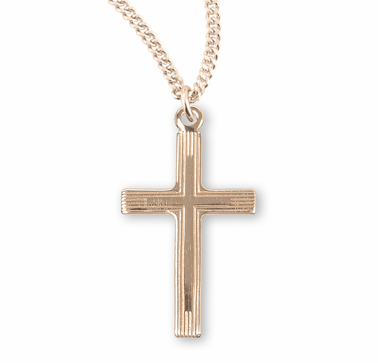 Small Double Gold Cross Necklace by HMH Religious