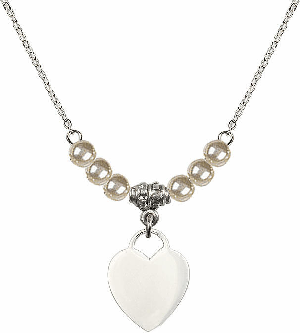 Small Engravable Plain Heart 4mm Faux Pearlsl Necklace by Bliss Mfg