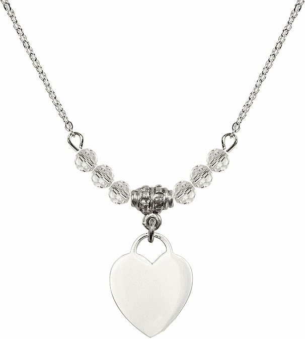 Small Engravable Plain Heart April 4mm Swarovski Crystal Necklace by Bliss Mfg