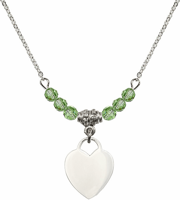 Small Engravable Plain Heart August Peridot 4mm Swarovski Crystal Necklace by Bliss Mfg