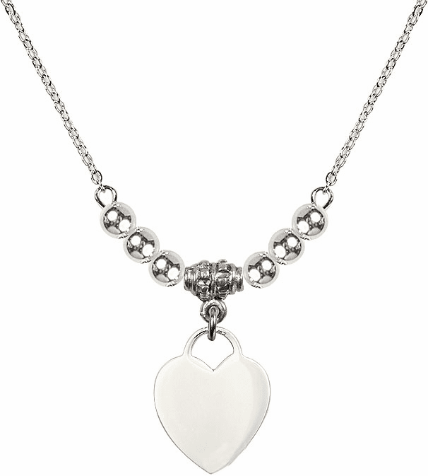 Small Engravable Plain Heart Charm w/4mm Silver Beaded Necklace by Bliss Mfg