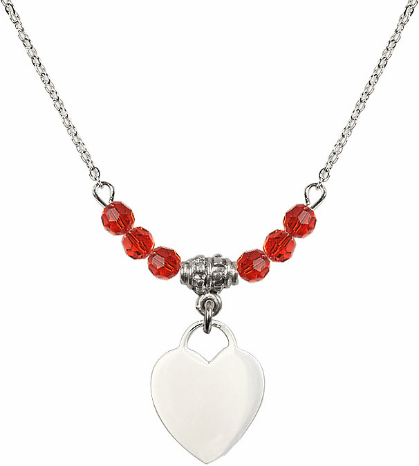 Small Engravable Plain Heart July Ruby 4mm Swarovski Crystal Necklace by Bliss Mfg