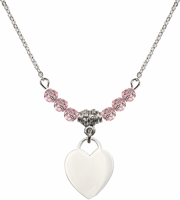 Small Engravable Plain Heart Lt Rose 4mm Swarovski Crystal Necklace by Bliss Mfg