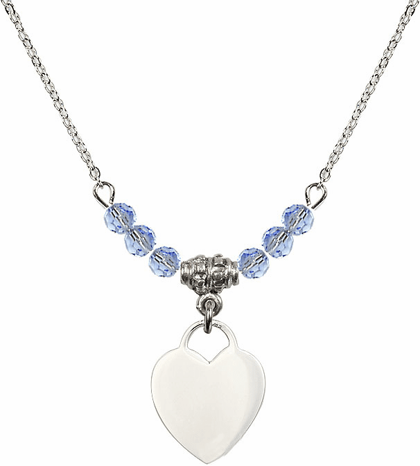 Small Engravable Plain Heart Lt Sapphire 4mm Swarovski Crystal Necklace by Bliss Mfg