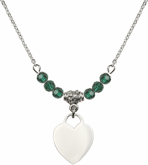 Small Engravable Plain Heart May Emerald 4mm Swarovski Crystal Necklace by Bliss Mfg
