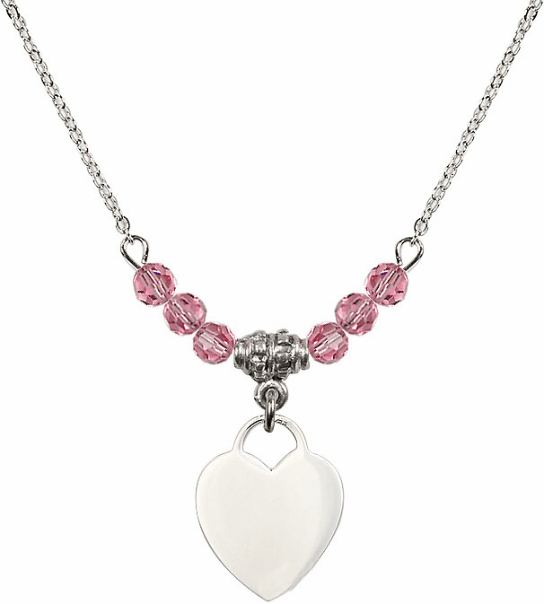 Small Engravable Plain Heart October Rose 4mm Swarovski Crystal Necklace by Bliss Mfg