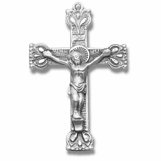 Small Fancy Sterling Silver Crucifix Rosary Part by HMH Religious