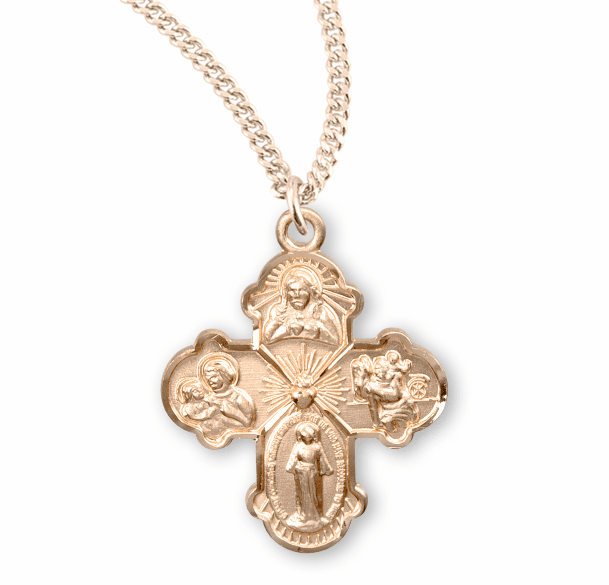 Small Four-Way Gold/Sterling Cross Medal Necklace by HMH Religious