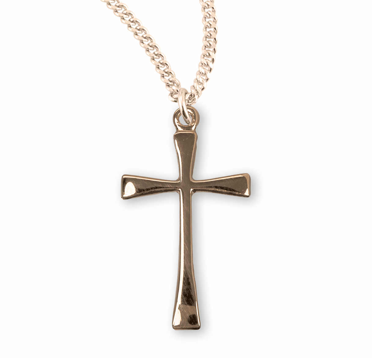 Small Gold Cross w/Tapered Ends Necklace by HMH Religious