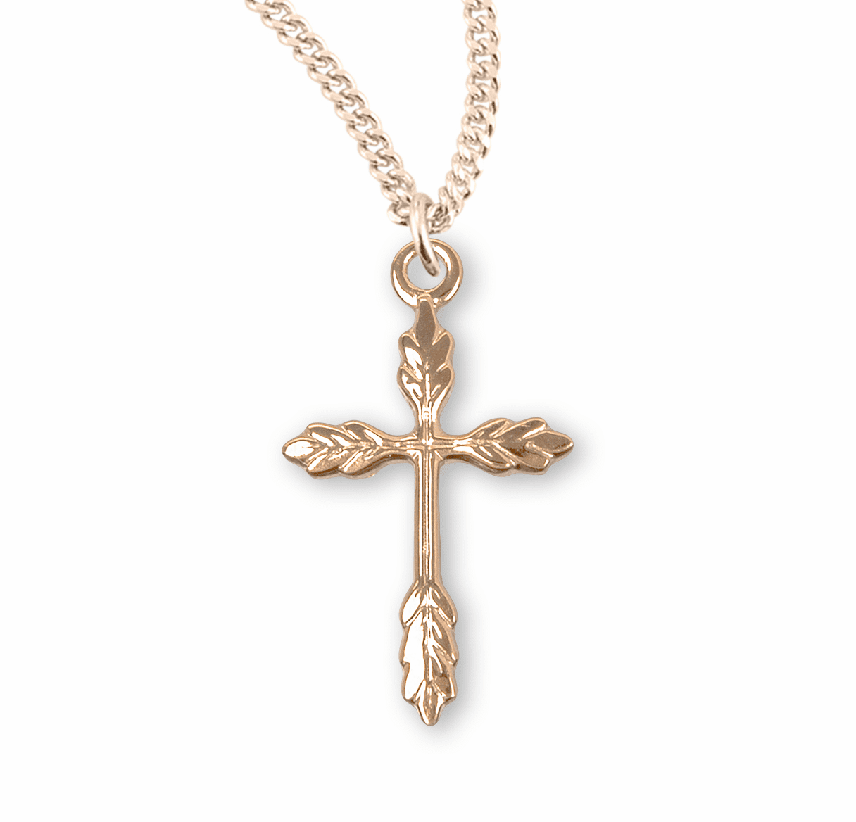 Small Gold Wheat Cross Necklace by HMH Religious