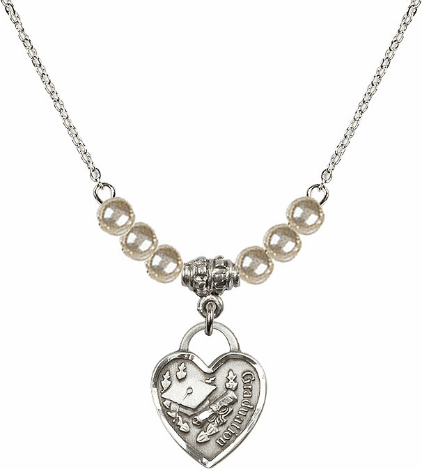 Small Graduation Heart 4mm Faux Pearlsl Necklace by Bliss Mfg
