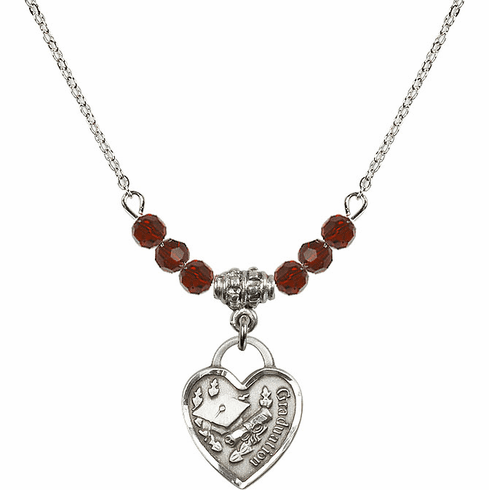 Small Graduation Heart 4mm January Garnet Swarovski Crystal Necklace by Bliss Mfg