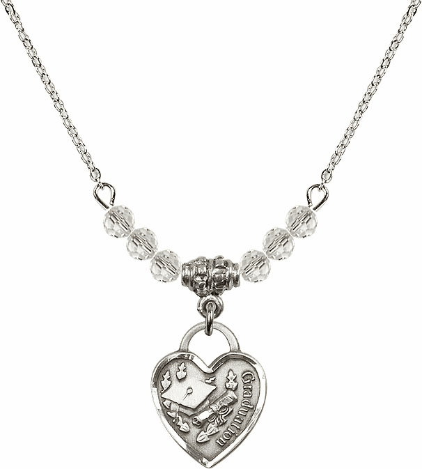 Small Graduation Heart April 4mm Swarovski Crystal Necklace by Bliss Mfg
