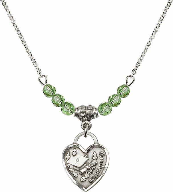 Small Graduation Heart August Peridot 4mm Swarovski Crystal Necklace by Bliss Mfg