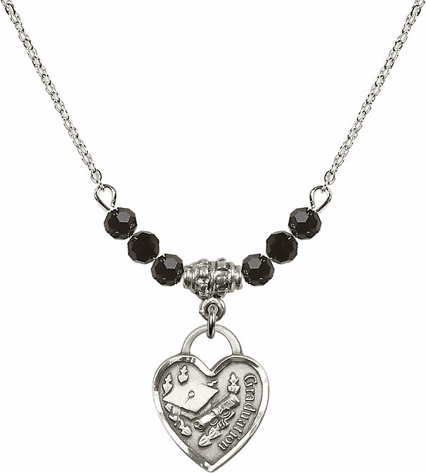 Small Graduation Heart Black Jet 4mm Swarovski Crystal Necklace by Bliss Mfg