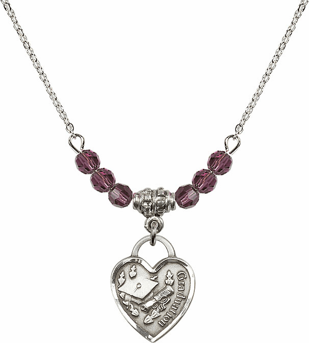 Small Graduation Heart February Amethyst 4mm Swarovski Crystal Necklace by Bliss Mfg