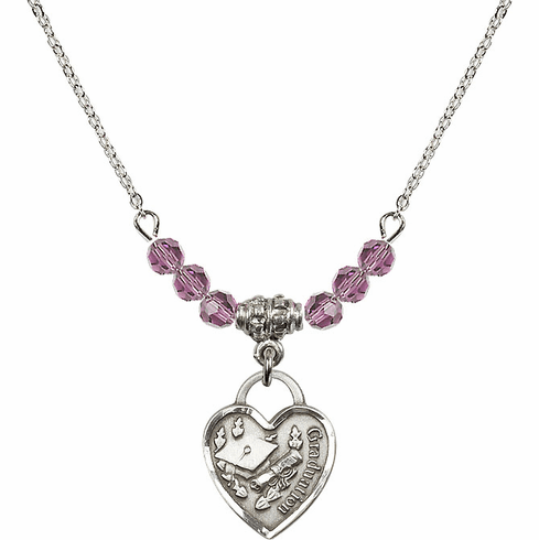 Small Graduation Heart June Lt Amethyst 4mm Swarovski Crystal Necklace by Bliss Mfg