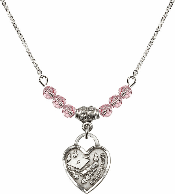 Small Graduation Heart Lt Rose 4mm Swarovski Crystal Necklace by Bliss Mfg