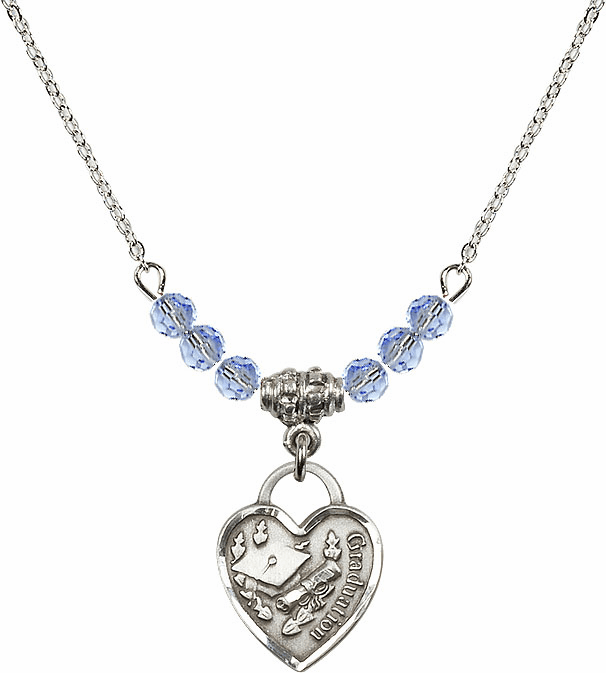 Small Graduation Heart Lt Sapphire 4mm Swarovski Crystal Necklace by Bliss Mfg