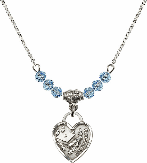 Small Graduation Heart March Aqua 4mm Swarovski Crystal March Aqua Necklace by Bliss Mfg