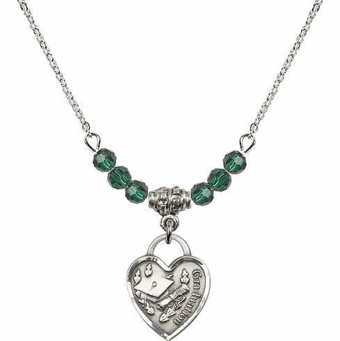Small Graduation Heart May Emerald 4mm Swarovski Crystal Necklace by Bliss Mfg