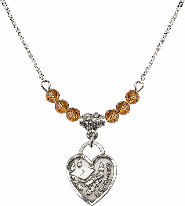 Small Graduation Heart November Topaz 4mm Swarovski Crystal Necklace by Bliss Mfg