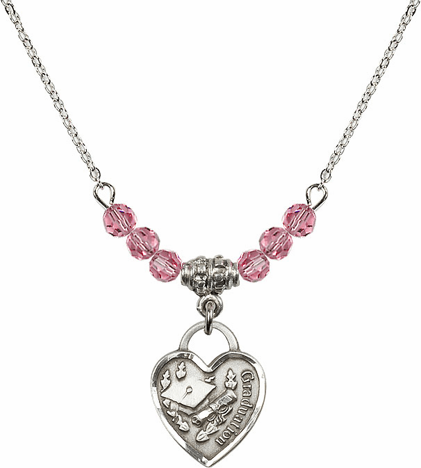 Small Graduation Heart October Rose 4mm Swarovski Crystal Necklace by Bliss Mfg
