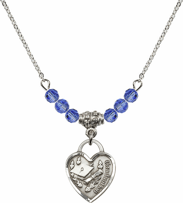 Small Graduation Heart September Sapphire 4mm Swarovski Crystal Necklace by Bliss Mfg