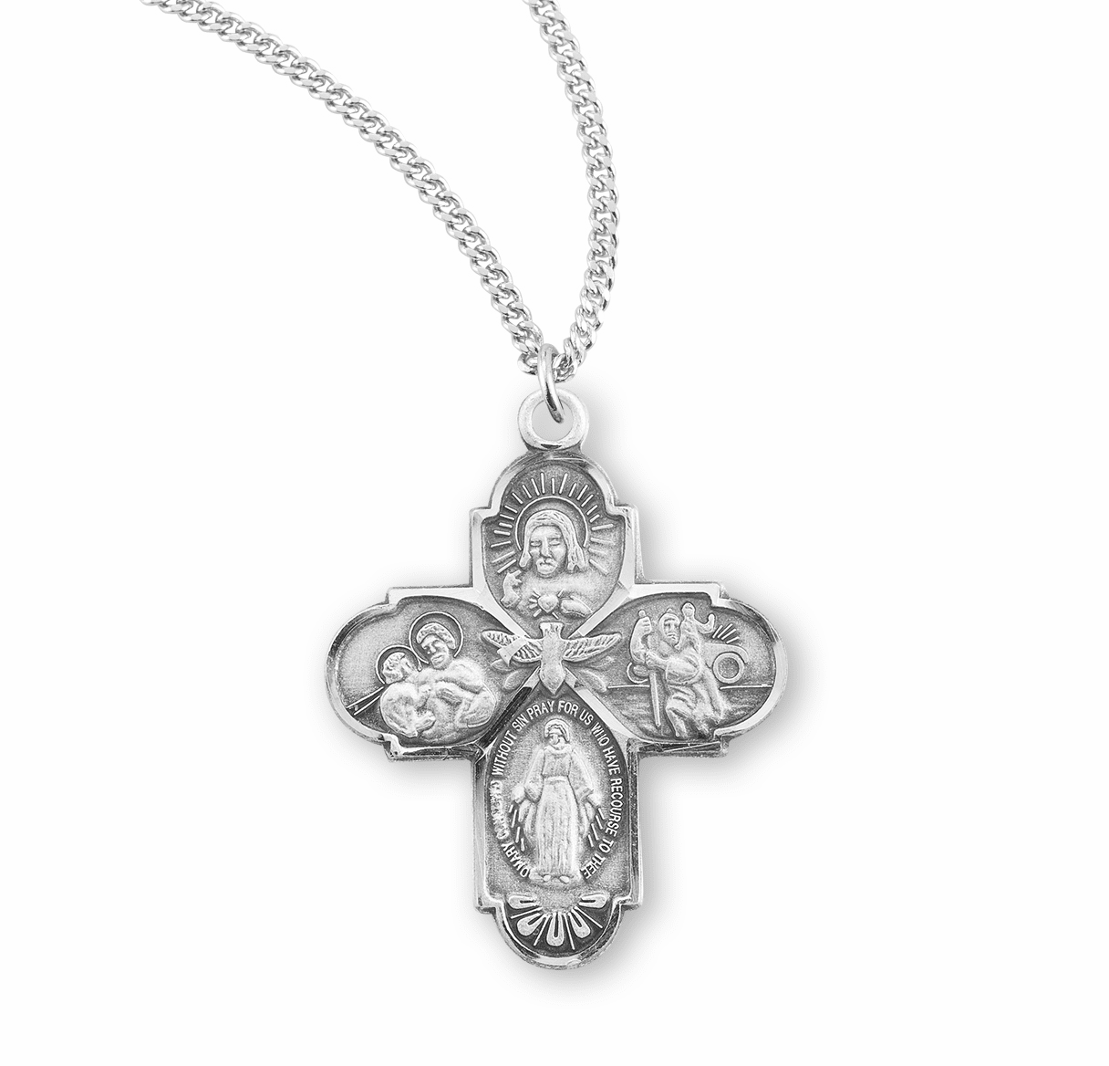 Small Holy Spirit Sterling Silver Four-Way Cross Medal Necklace by HMH Religious