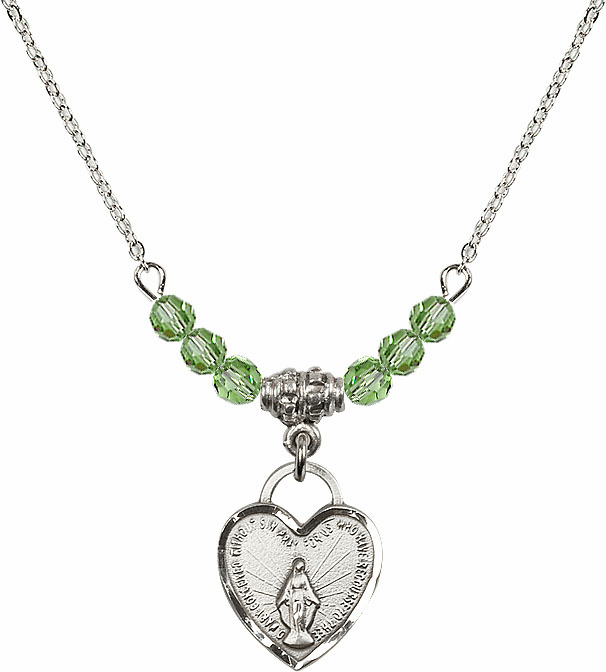 Small Miraculous Medal August Peridot 4mm Swarovski Crystal Necklace by Bliss Mfg