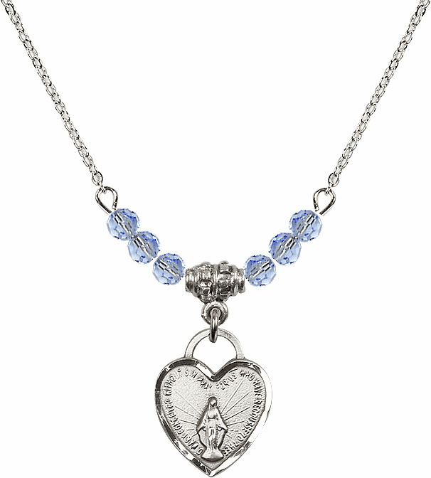 Small Miraculous Medal Lt Sapphire 4mm Swarovski Crystal Necklace by Bliss Mfg