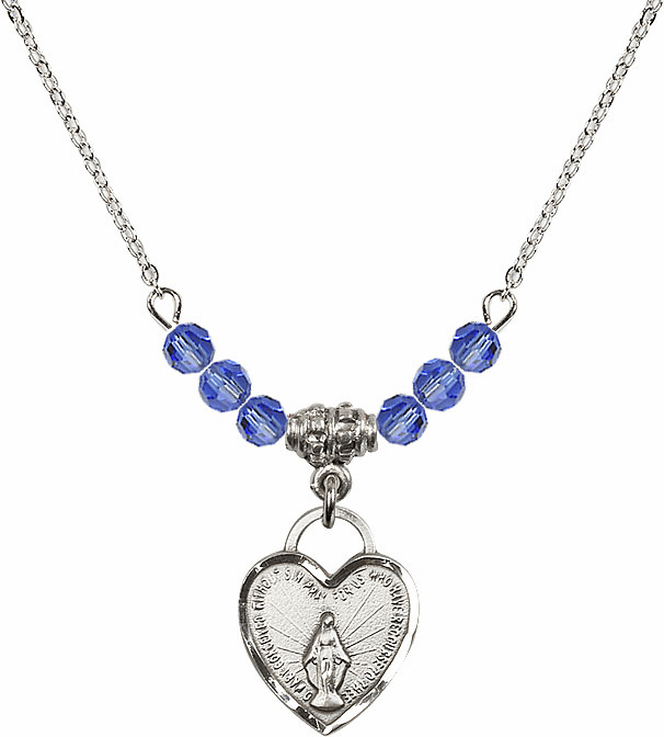 Small Miraculous Medal September Sapphire 4mm Swarovski Crystal Necklace by Bliss Mfg