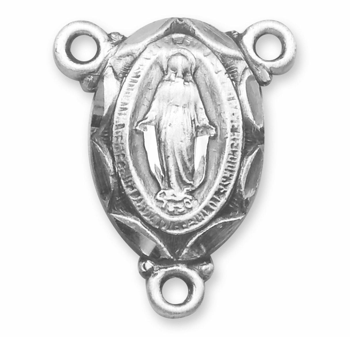 Small Miraculous Medal Sterling Silver Rosary Center Part by HMH Religious