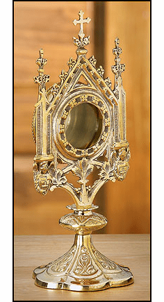 Small Ornate Brass Monstrance Reliquary by Stratford Chapel