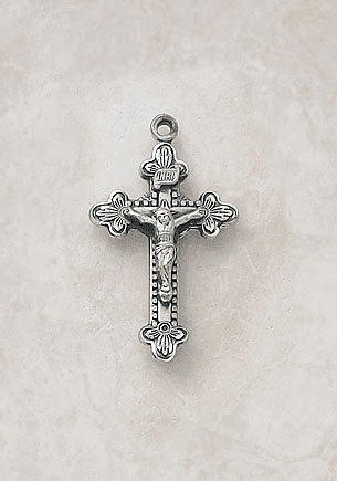 Small Ornate Elegant Sterling Silver Crucifix Medal Necklace by Creed Jewelry