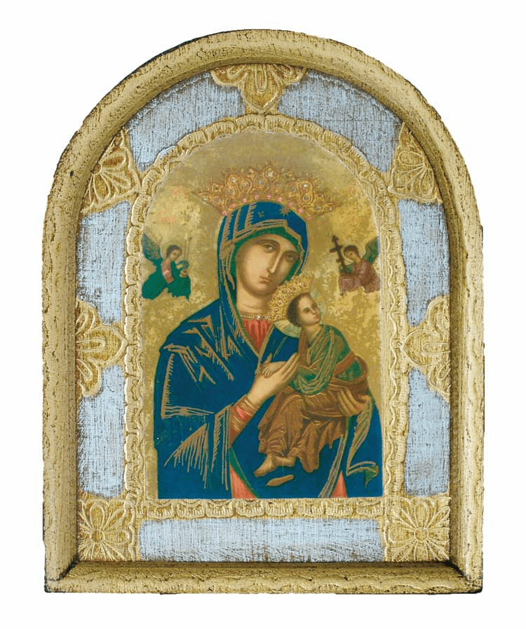 Small Our Lady of Perpetual Help Florentine Print Wood Plaque