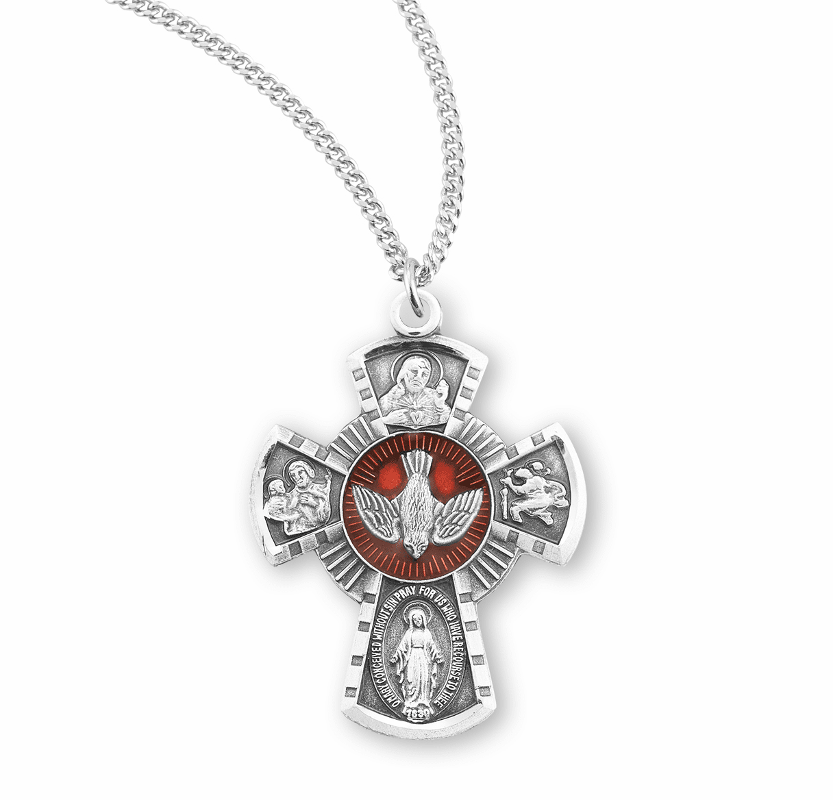 Small Red Sterling Silver Four-Way Medal Necklace by HMH Religious