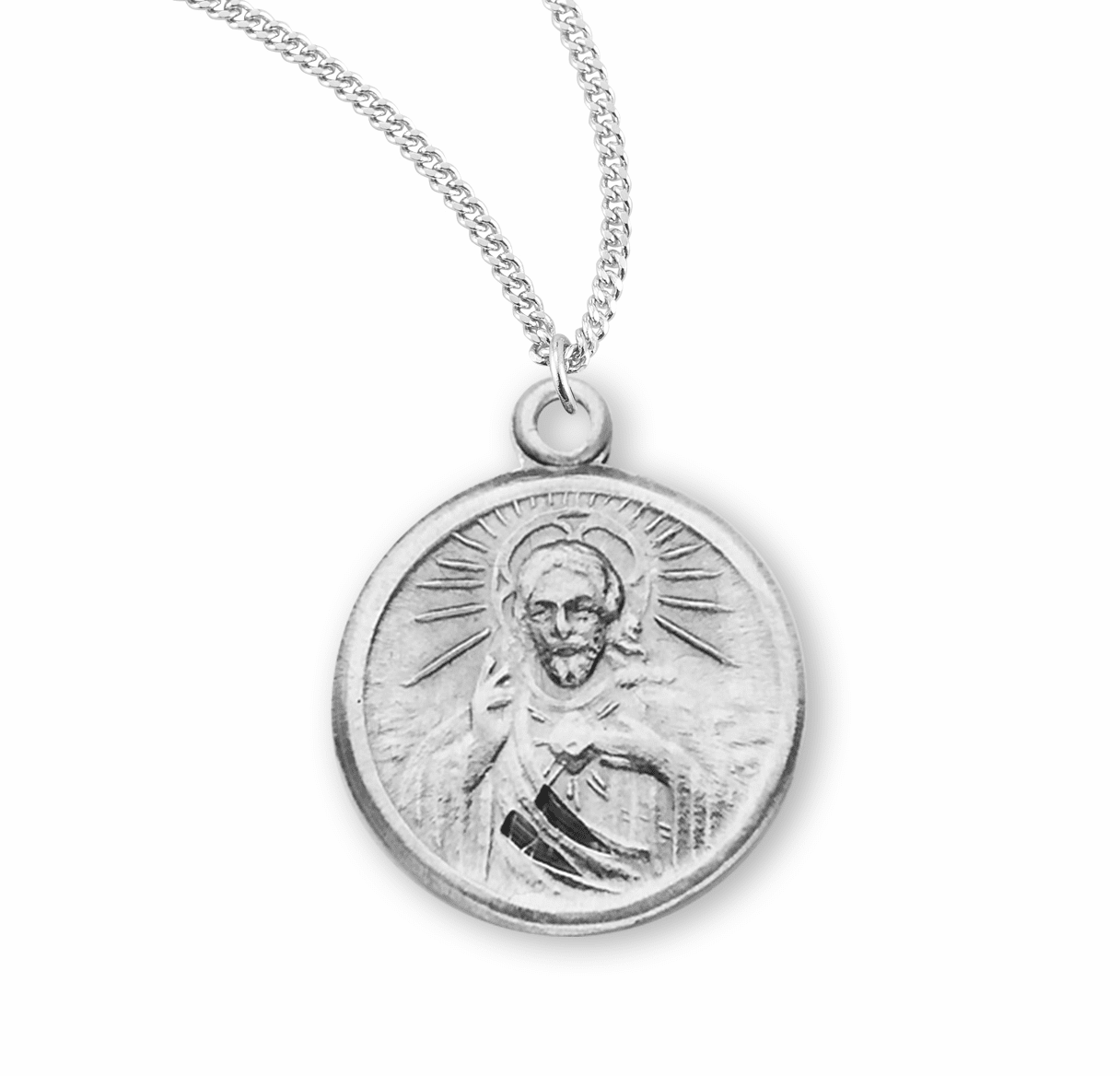 Small Round Sacred Heart of Jesus Scapular Medal Necklace by HMH Religious