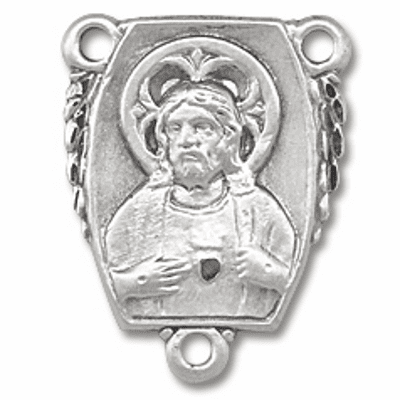 Small Sacred Heart of Jesus Sterling Silver Rosary Centepiece by HMH Religious