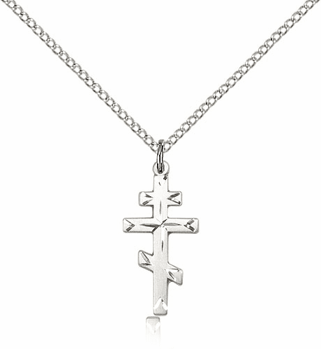 Small St Andrew Sterling Silver Greek Orthodox Cross Necklace